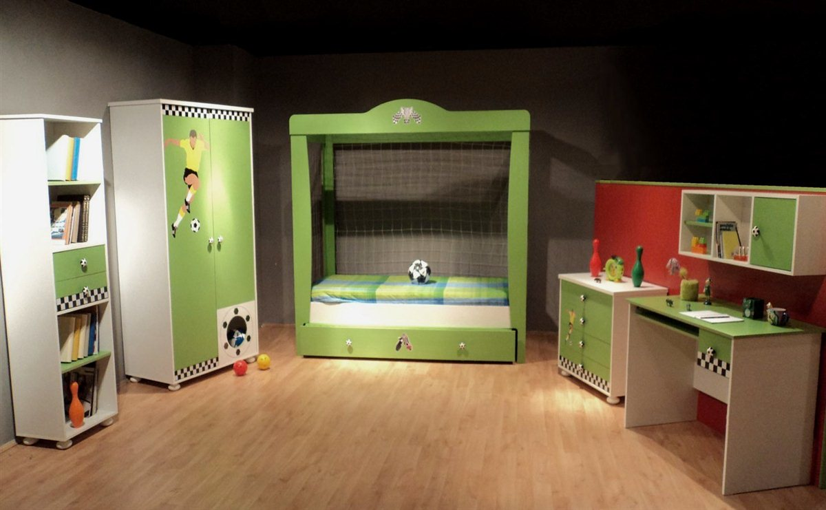 kinderzimmer fu ball bett f r jungs und m dchen kinder bett gr n mit netz ebay. Black Bedroom Furniture Sets. Home Design Ideas