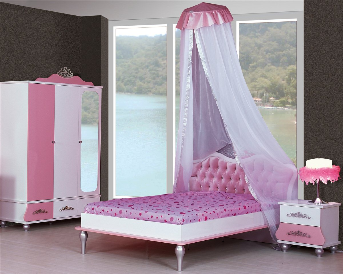 kinderzimmer prinzessin kinder bett m dchen pink prinzessinenbett kleiderschrank ebay. Black Bedroom Furniture Sets. Home Design Ideas