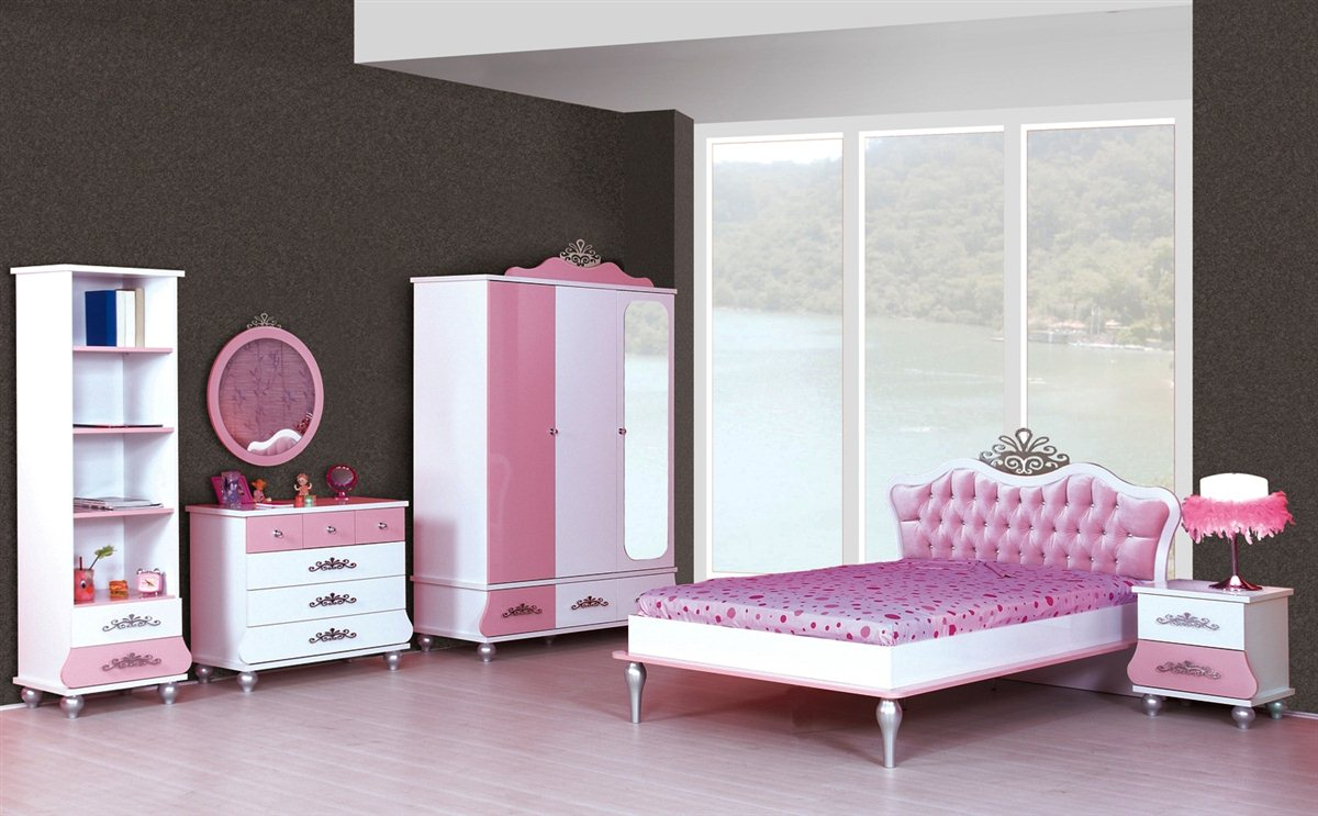 kinderzimmer prinzessin kinder bett m dchen pink prinzessinenbett kleiderschrank. Black Bedroom Furniture Sets. Home Design Ideas