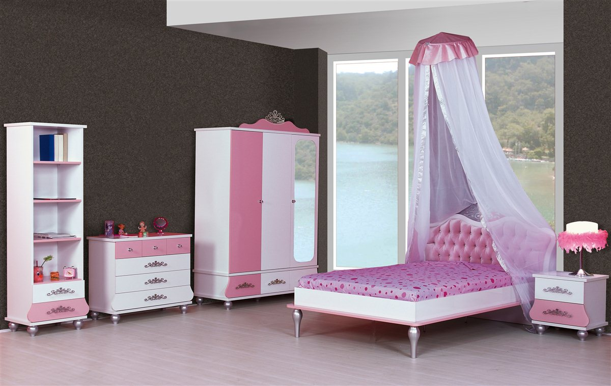 6er set kinderzimmer prinzessin kinder bett m dchen pink rosa. Black Bedroom Furniture Sets. Home Design Ideas