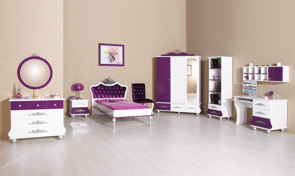 kinderzimmer prinzessin kinder bett m dchen lila prinzessinenbett ebay. Black Bedroom Furniture Sets. Home Design Ideas