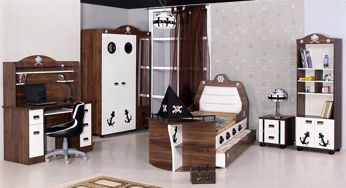 Kinderzimmer set junge  7er Möbel Set Piratenbett Kinder Bett Jungen Pirat Kinderzimmer | eBay