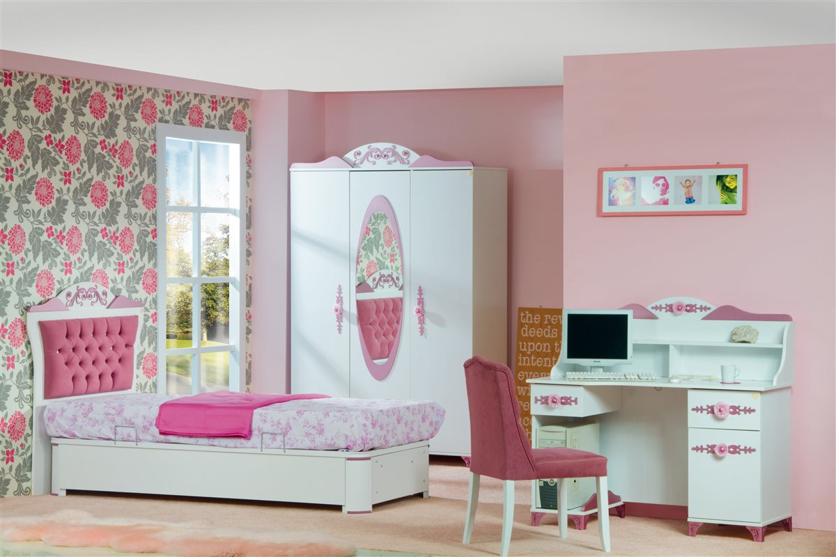 Pretty Kinder Himmelbett 90 x 200 Bett mit Himmel Rosa Weiß  eBay