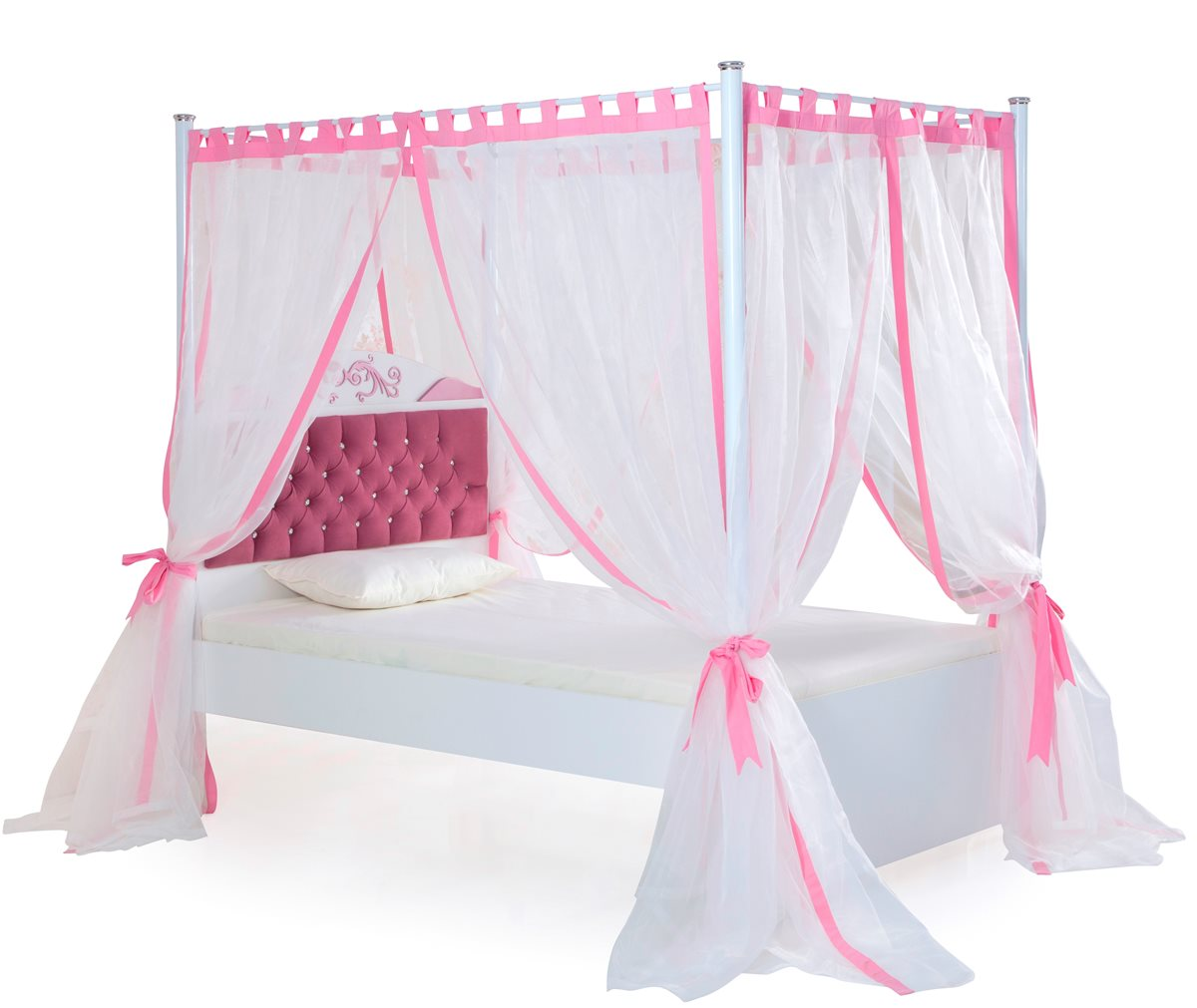 pretty gro es bett mit himmel 120 x 200 kinderbett bett rosa wei ebay. Black Bedroom Furniture Sets. Home Design Ideas