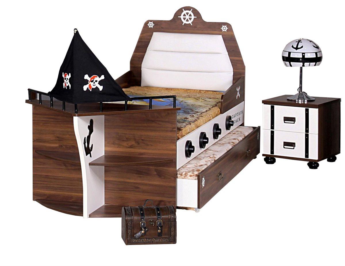 Piratenbett kinder bett jungen m dchen pirat schiffsbett for Jugendzimmer jungen ohne bett