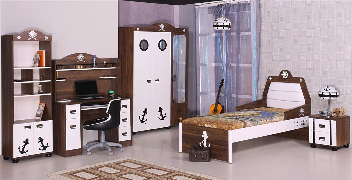 piratenbett kinder bett jungen m dchen aufsatz schreibtisch pirat m bel ebay. Black Bedroom Furniture Sets. Home Design Ideas