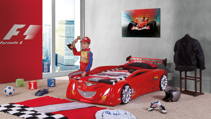 autobett fuari mit led beleuchtung felgen licht kinderbett auto. Black Bedroom Furniture Sets. Home Design Ideas