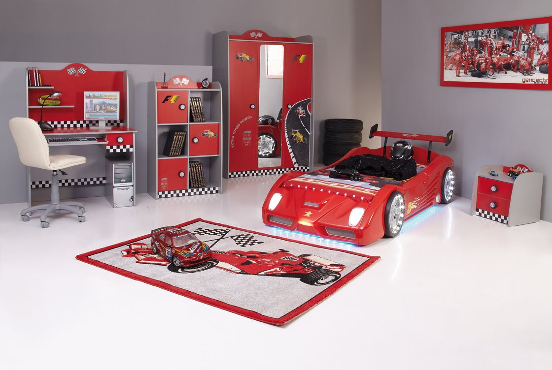 kinderbett auto turbo v2 rot wei autobett mit fernbedienung. Black Bedroom Furniture Sets. Home Design Ideas