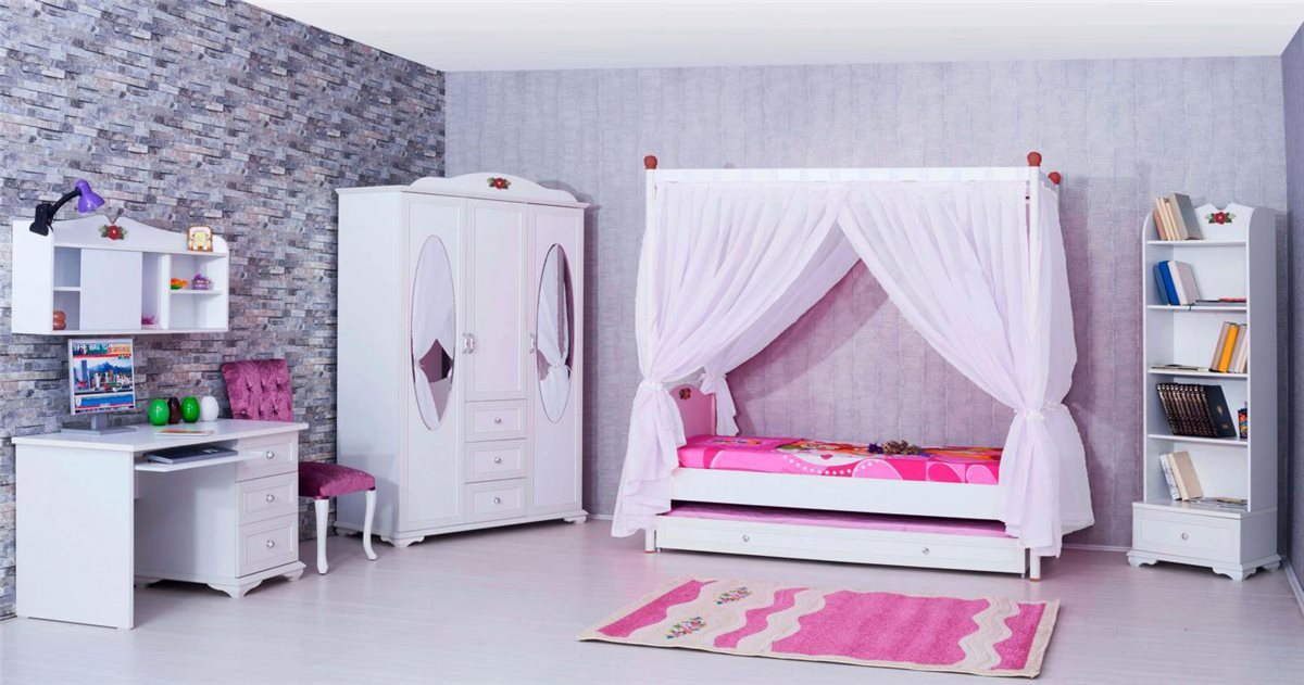 10er set kinderzimmer m bel cindy himmelbett kinderbett. Black Bedroom Furniture Sets. Home Design Ideas