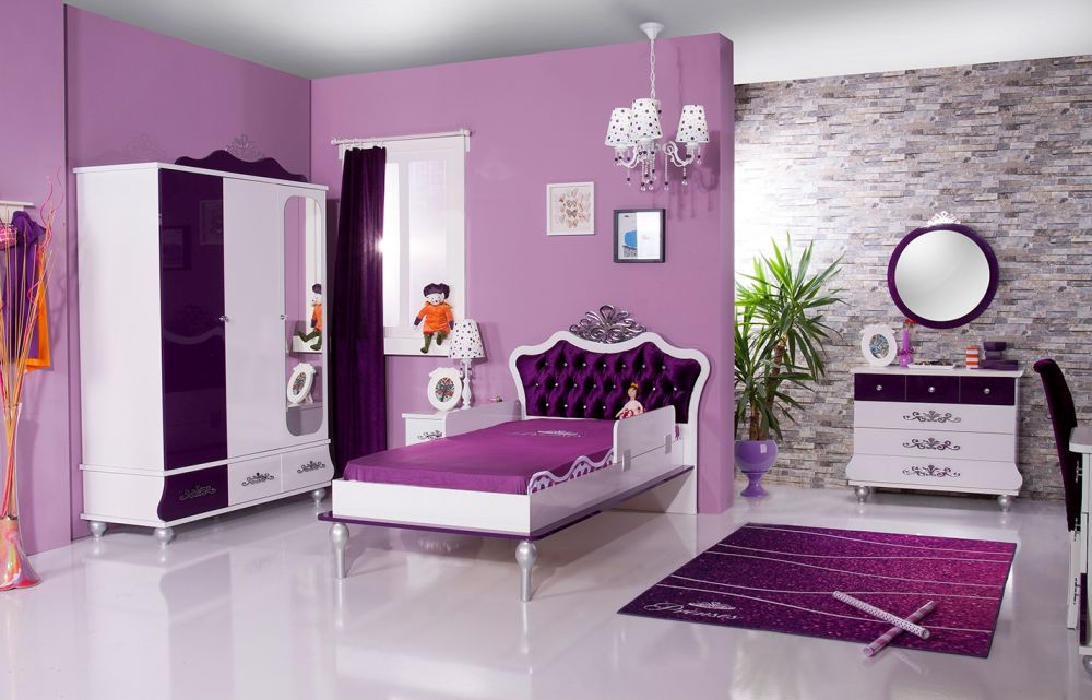 kinderbett m dchen lila oder rosa anastasia 90x200 bett ebay. Black Bedroom Furniture Sets. Home Design Ideas