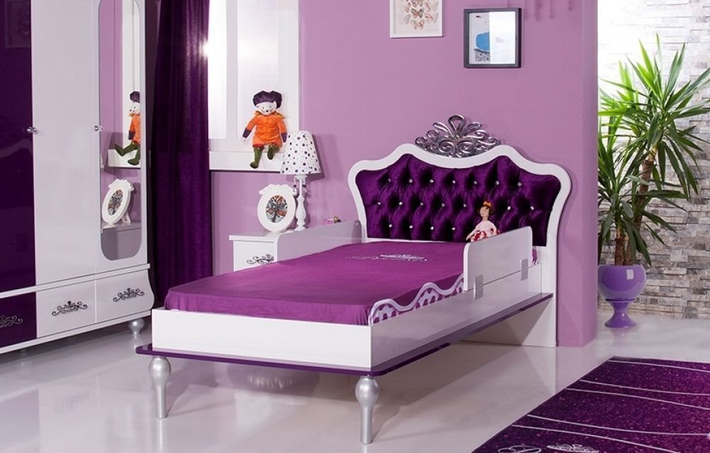 kinderbett m dchen brombeer anastasia 120x200 bett f r m dchen ebay. Black Bedroom Furniture Sets. Home Design Ideas