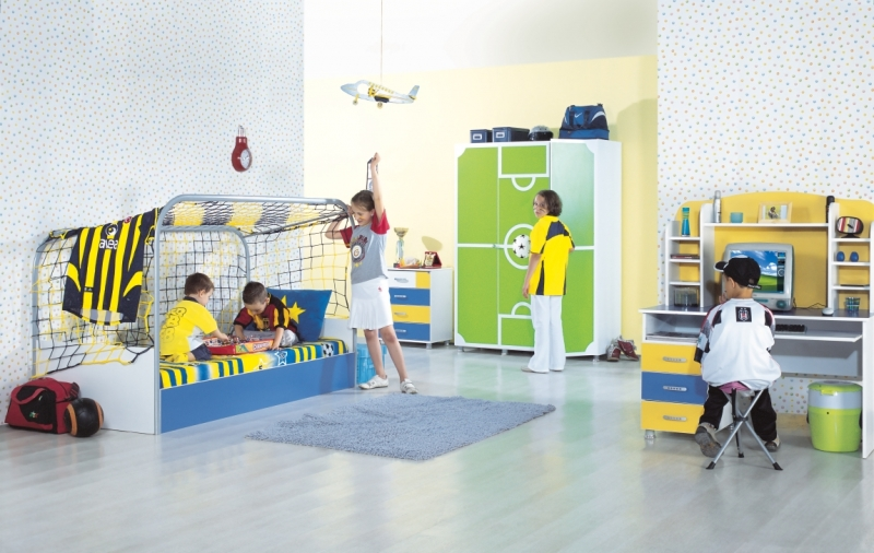 goal kinderzimmer m bel kinderbett kleiderschrank fu ball torbett ebay. Black Bedroom Furniture Sets. Home Design Ideas
