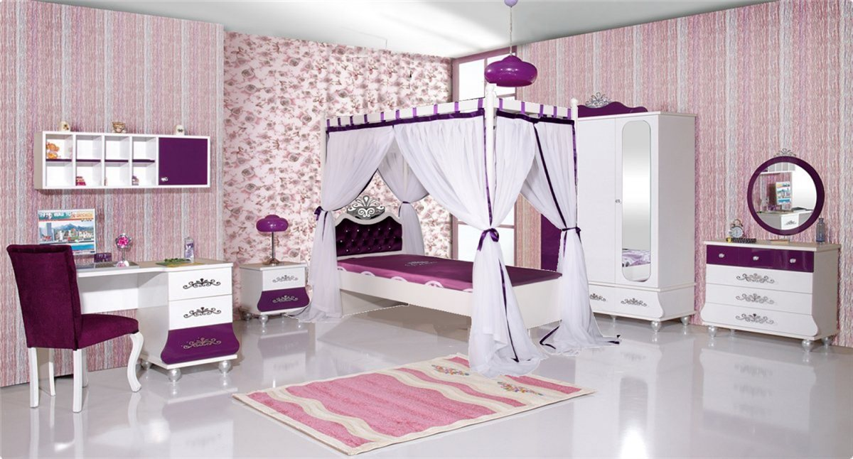 kinderbett m dchen lila anastasia 90x200 stauraum bett. Black Bedroom Furniture Sets. Home Design Ideas