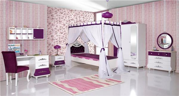 kinderbett m dchen lila anastasia 90x200 stauraum bett deluxe ebay. Black Bedroom Furniture Sets. Home Design Ideas