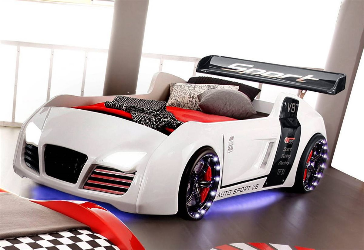 autobett turbo v8 wei m bel kinder bett autobetten kinderbett junge ebay. Black Bedroom Furniture Sets. Home Design Ideas