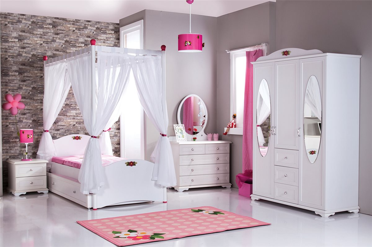 cindy himmelbett wei kinderbett mit himmel wei ebay. Black Bedroom Furniture Sets. Home Design Ideas