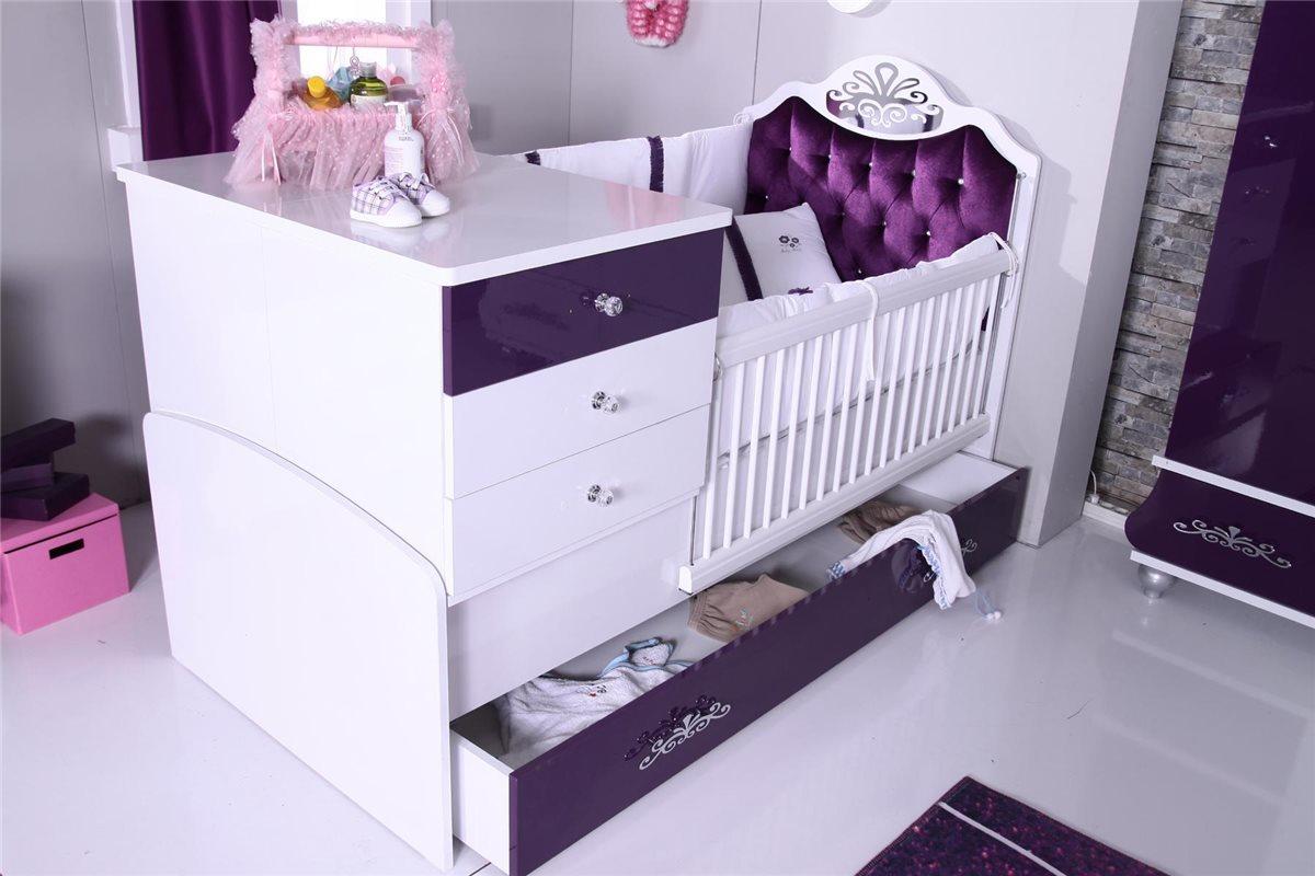 babybett m dchen lila anastasia 80x125 cm bett baby. Black Bedroom Furniture Sets. Home Design Ideas
