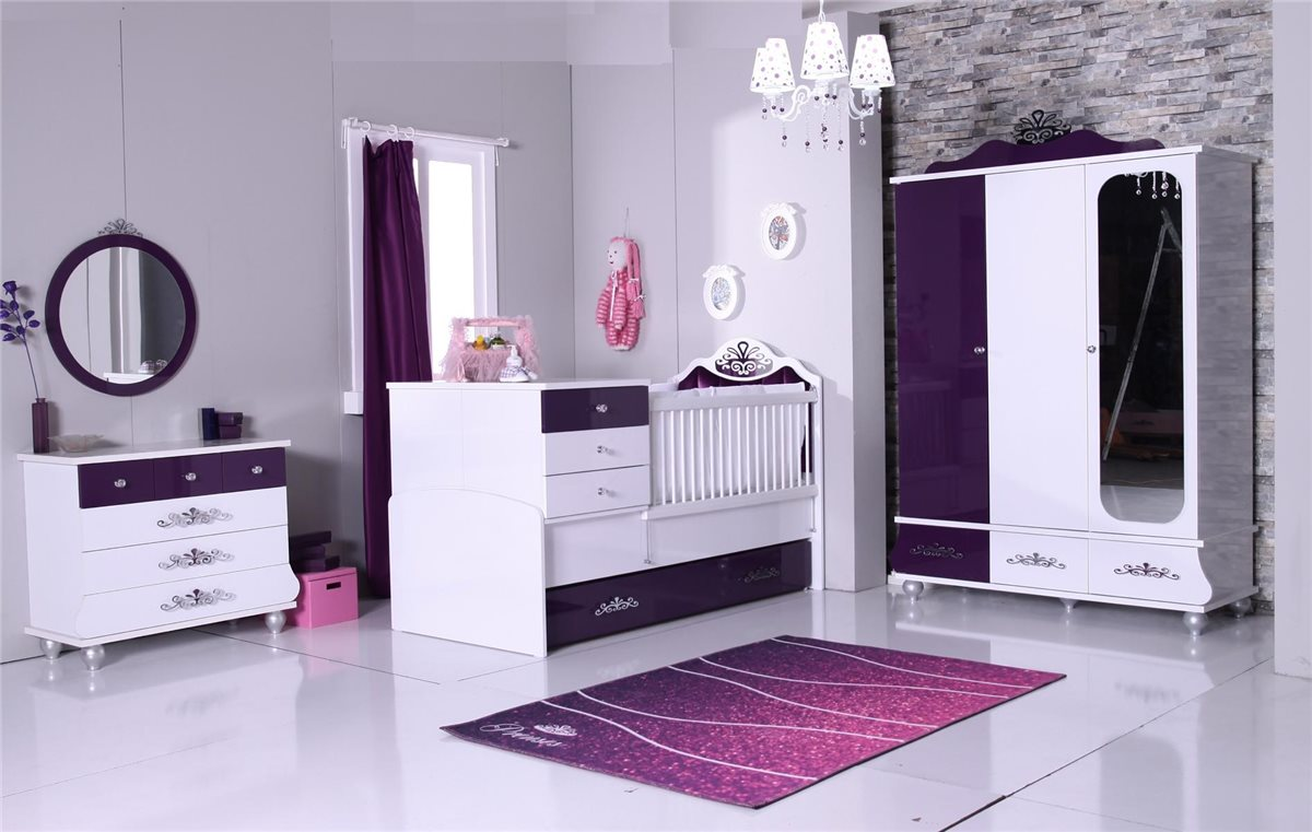 babybett m dchen lila anastasia 80x125 cm bett baby gitterbett ebay. Black Bedroom Furniture Sets. Home Design Ideas