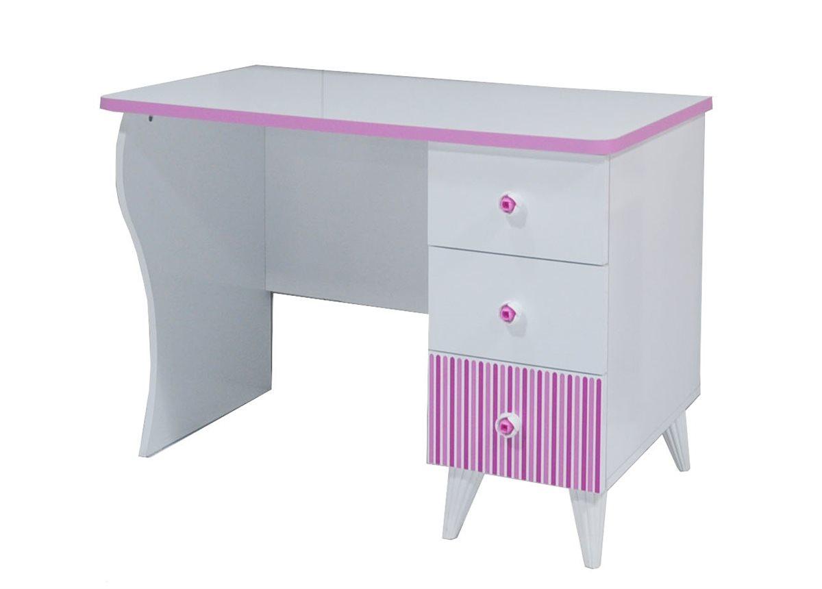 Elissa schreibtisch wei pink f r m dchen kinderzimmer for Schreibtisch ohne schubladen