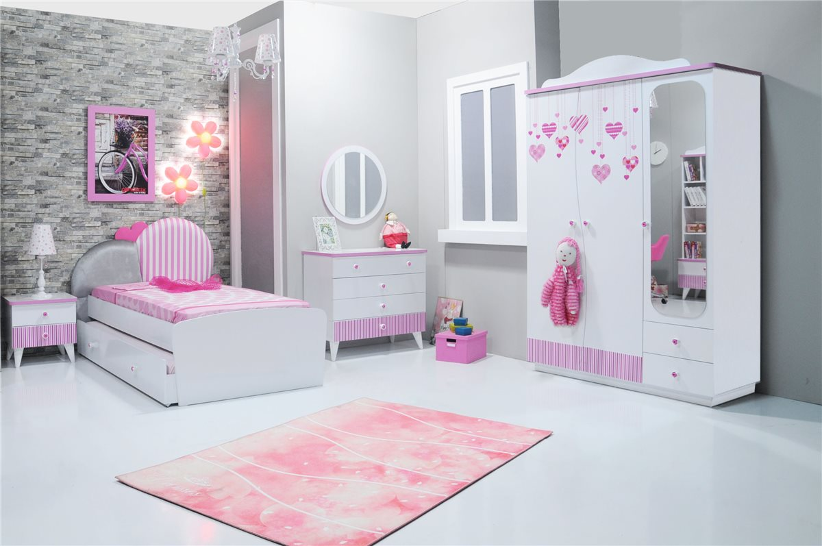 elissa schreibtisch wei pink f r m dchen kinderzimmer. Black Bedroom Furniture Sets. Home Design Ideas