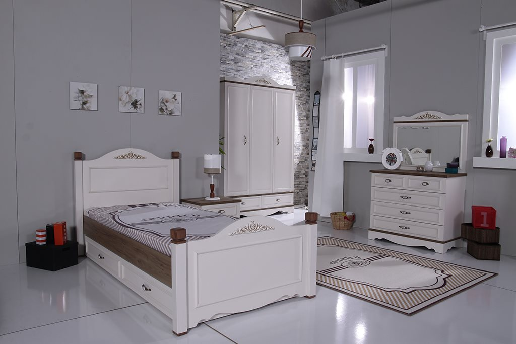 country stauraumbett 90x200 antikwei m dchen bett ebay. Black Bedroom Furniture Sets. Home Design Ideas
