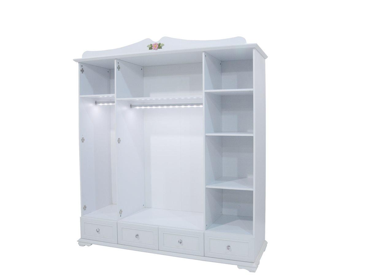 cindy 4er kleiderschrank schrank f r kinderzimmer m dchen wei ebay. Black Bedroom Furniture Sets. Home Design Ideas