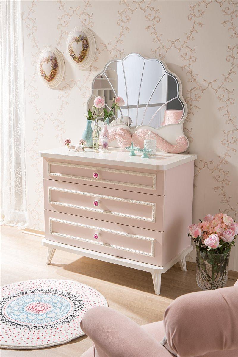 kinderzimmer m dchen rosa spiegel f r kommode ebay. Black Bedroom Furniture Sets. Home Design Ideas