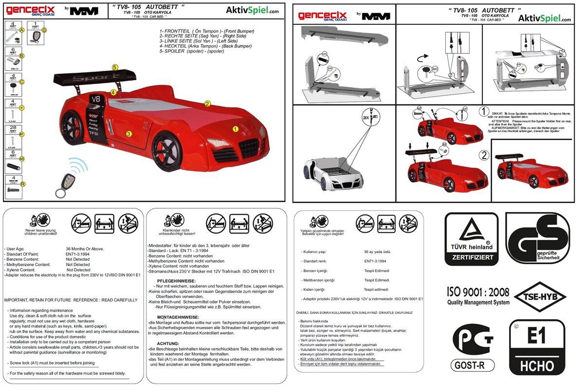 Autobett Turbo V8 Sport Wei 223 M 246 Bel Kinder Bett Autobetten