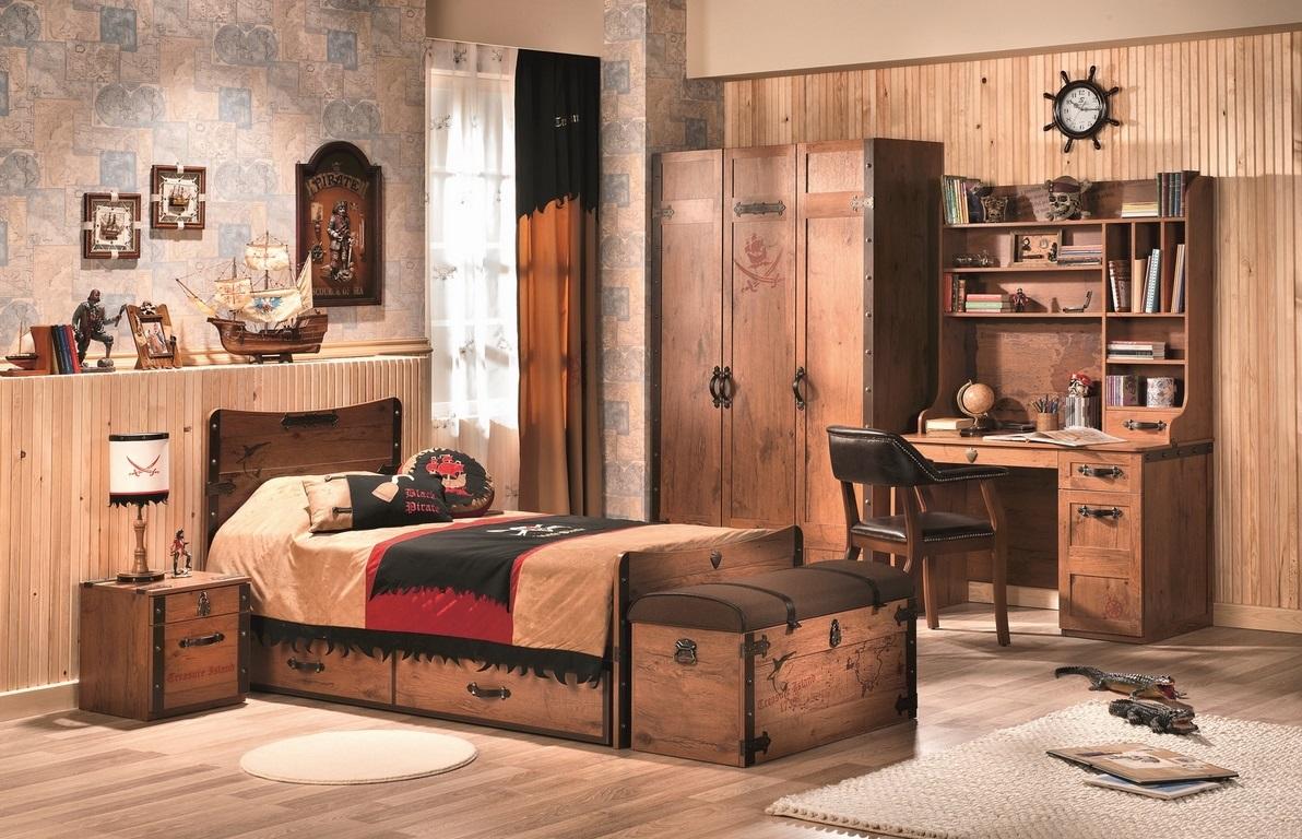 kinder spieltruhe jungen m bel pirat braun spielzeugkiste ebay. Black Bedroom Furniture Sets. Home Design Ideas
