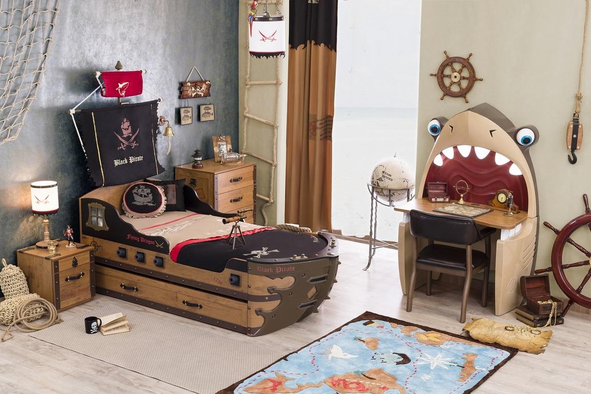 Kinderbett piratenschiff  Piratenbett Blackpirate Piratenzimmer Kinderbett Pirat 90x190 cm ...