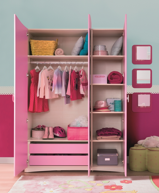 m dchen 3er kleiderschrank pink mit spiegel m bel kinderzimmer ebay. Black Bedroom Furniture Sets. Home Design Ideas