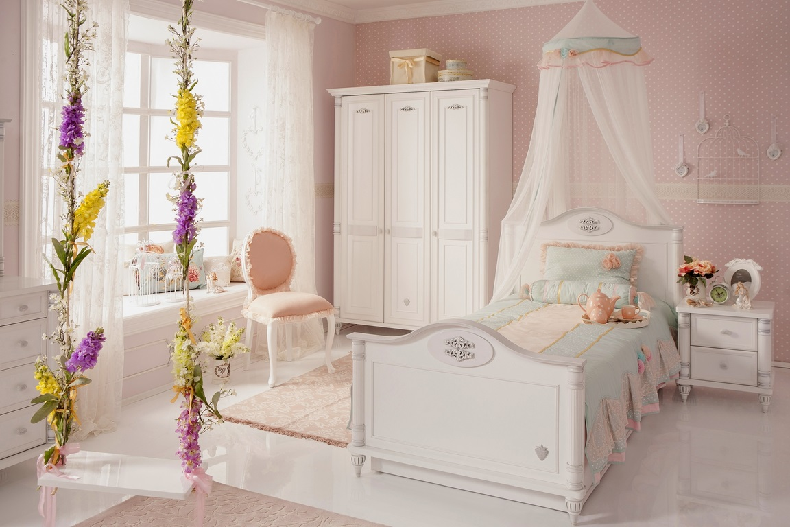cilek m dchen kinderzimmer bett schrank kommode wei. Black Bedroom Furniture Sets. Home Design Ideas