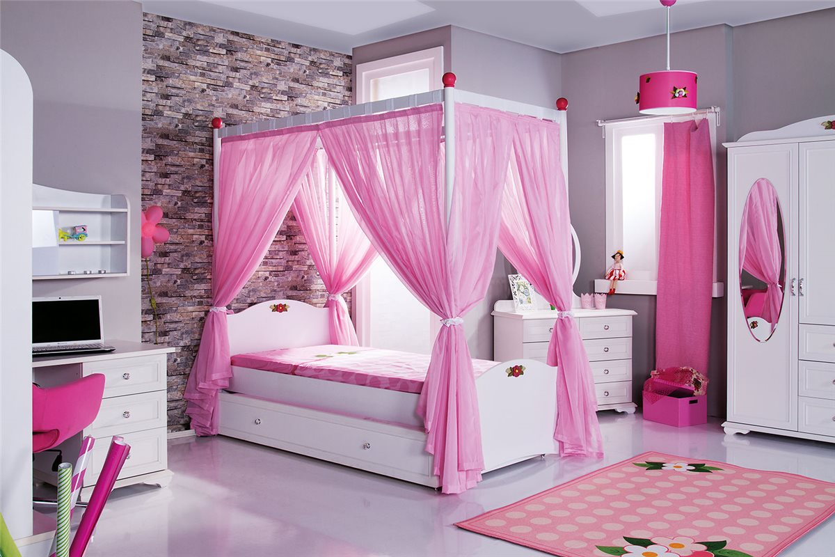 cindy himmelbett rosa kinderbett mit himmel bett m dchen ebay. Black Bedroom Furniture Sets. Home Design Ideas