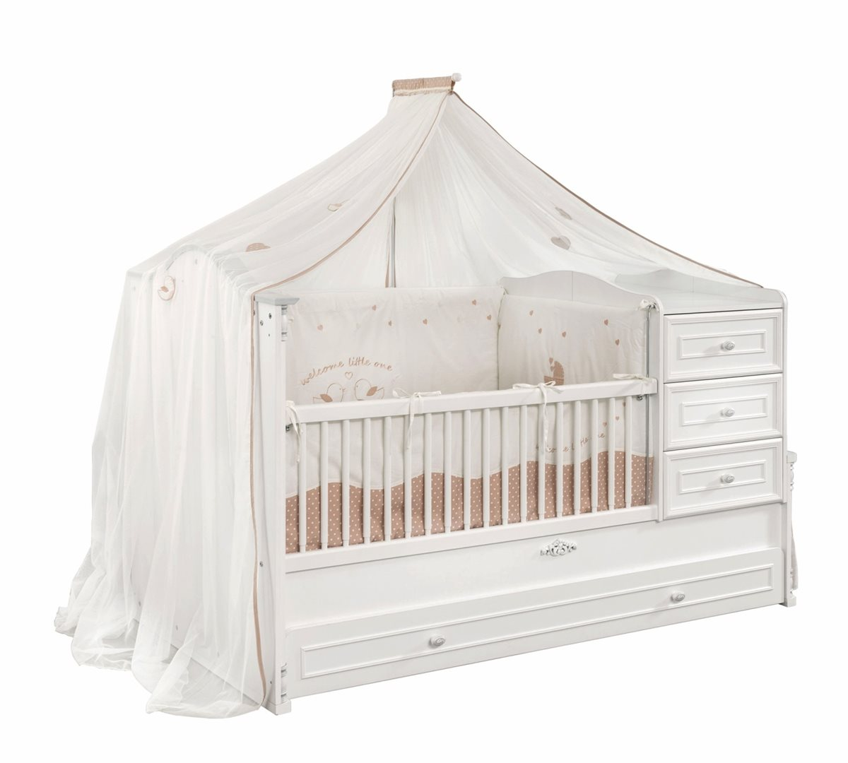 7er baby m bel zimmer babyromantic mit bettschubkasten und himmel. Black Bedroom Furniture Sets. Home Design Ideas