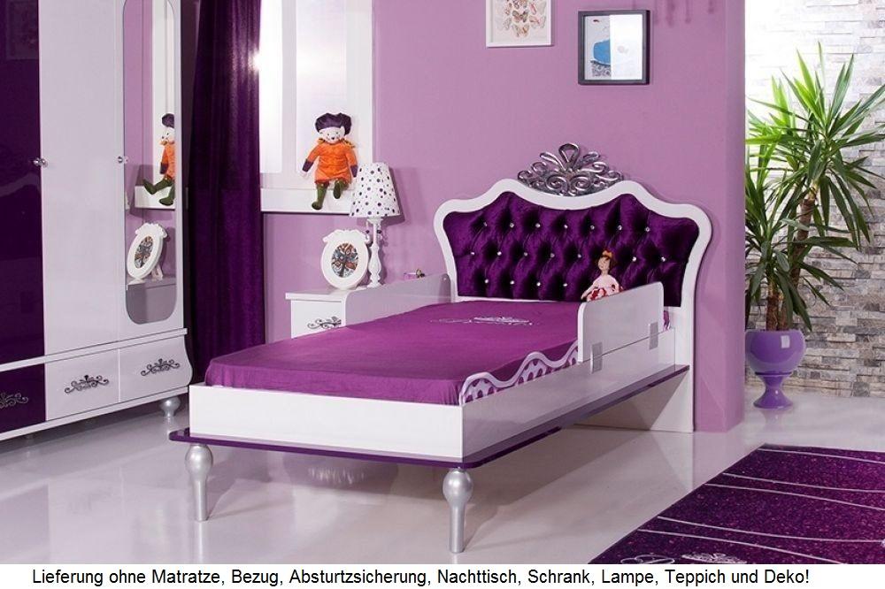 kinderbett m dchen lila anastasia 90x200 mit krone bett brombeer ebay. Black Bedroom Furniture Sets. Home Design Ideas