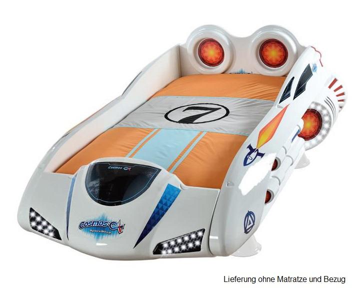 """Cars Bett 90x200: Kinderbett 90x200 """"SPACE"""" Rot Mit LED+FUNK Raumschiff Bett"""