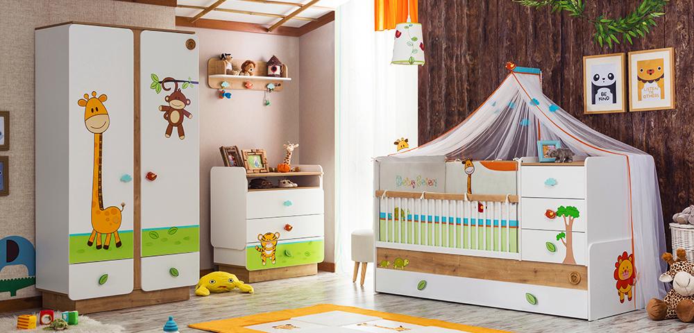 5er set babybett vorhang schrank wickelkommode regal babysafari ebay. Black Bedroom Furniture Sets. Home Design Ideas