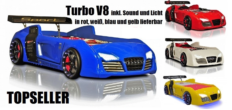 autobett v8 rot blau wei kin der bett auto licht sound rost ebay. Black Bedroom Furniture Sets. Home Design Ideas