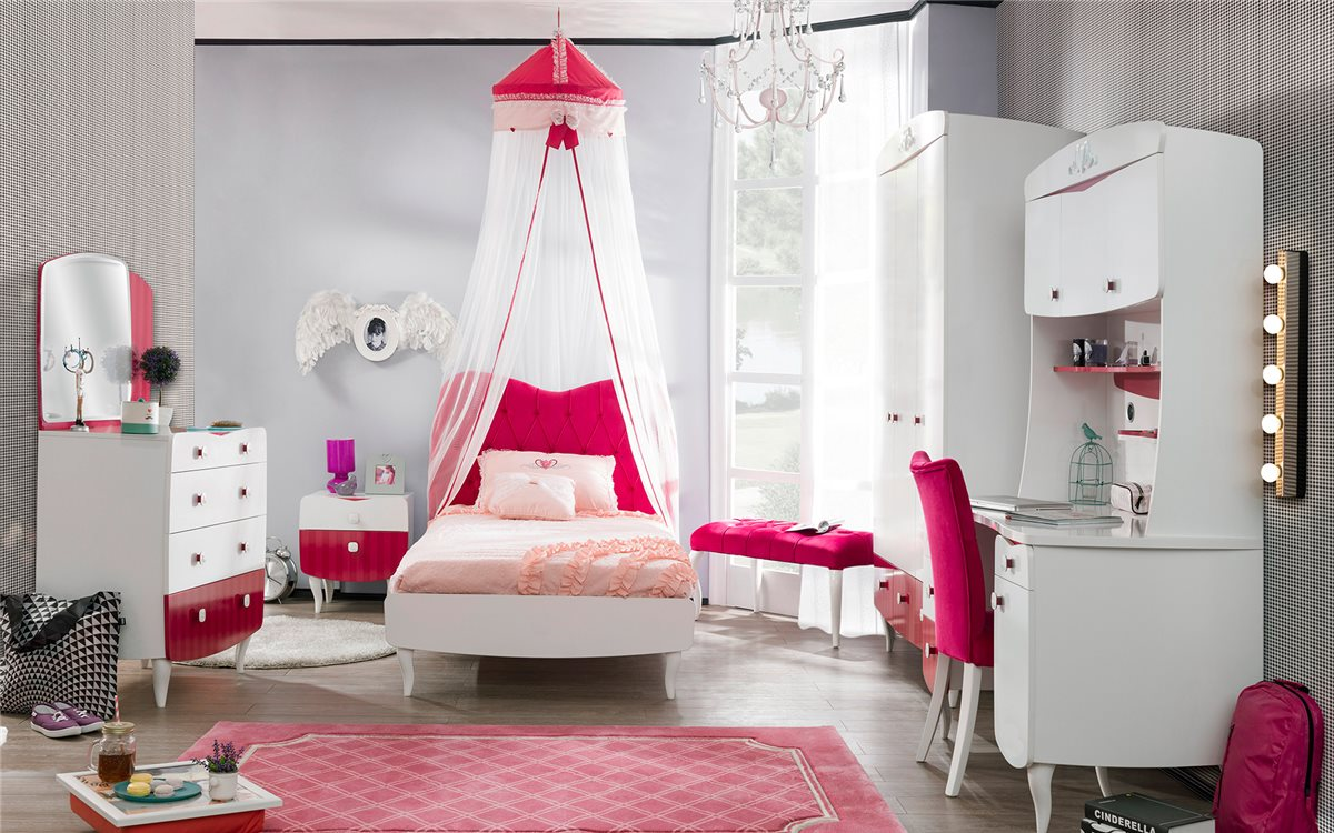 kinderbett 140x200cm sweety weiss rot bett f r m dchen ebay. Black Bedroom Furniture Sets. Home Design Ideas