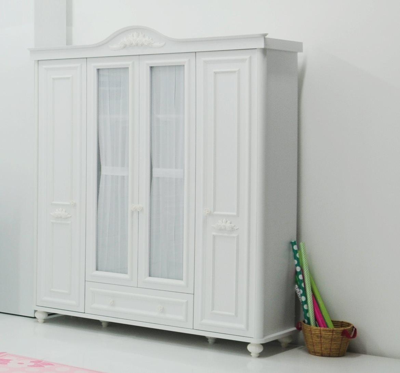 kleiderschrank 4 t rig bella wei m dchen schrank ebay. Black Bedroom Furniture Sets. Home Design Ideas