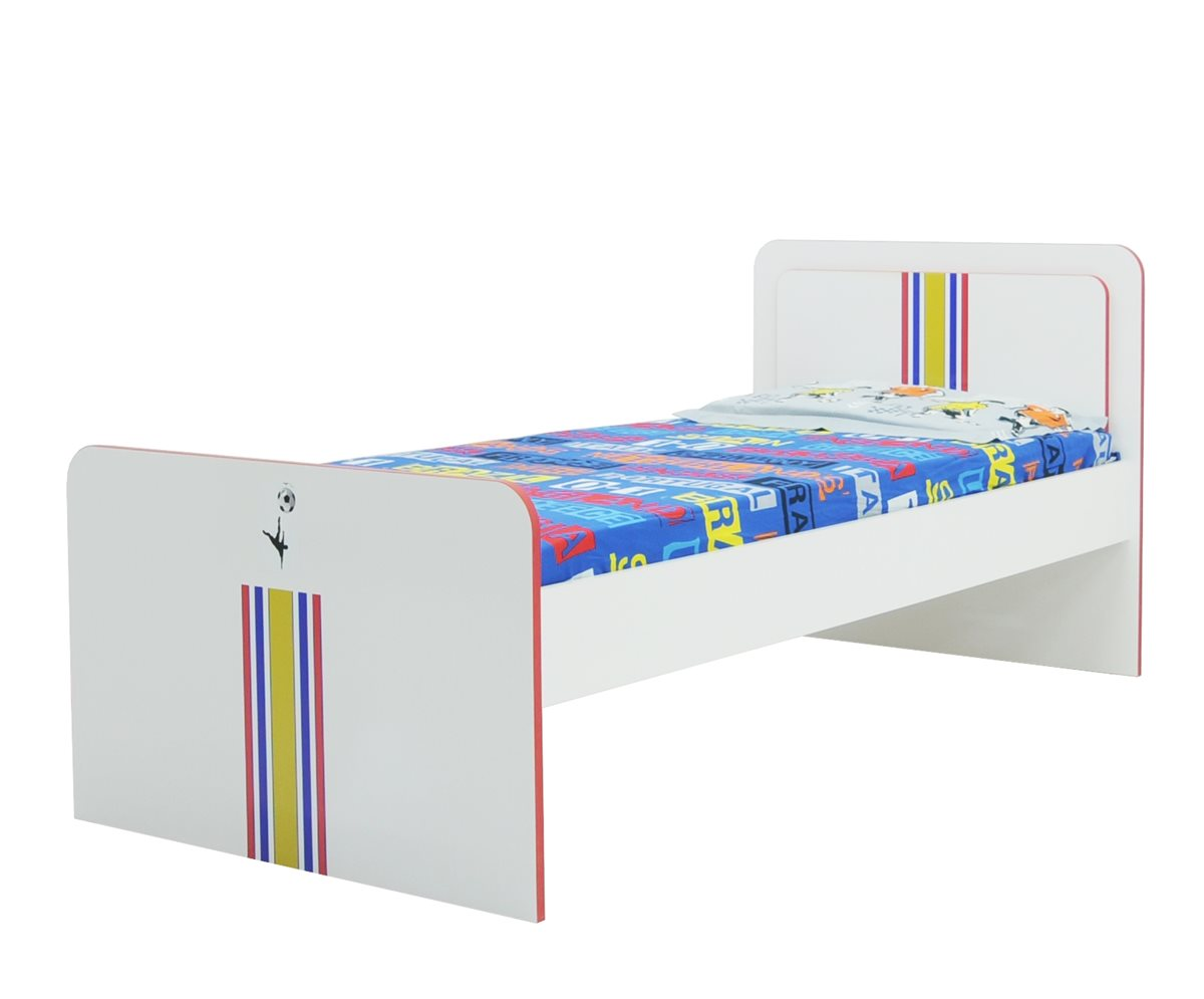 bett 90x200cm fussball weiss inkl rost kinder bett f r jungs ebay. Black Bedroom Furniture Sets. Home Design Ideas