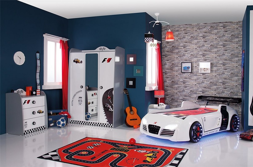 autobett bymm roadster grau kinderbett auto rennwagen. Black Bedroom Furniture Sets. Home Design Ideas