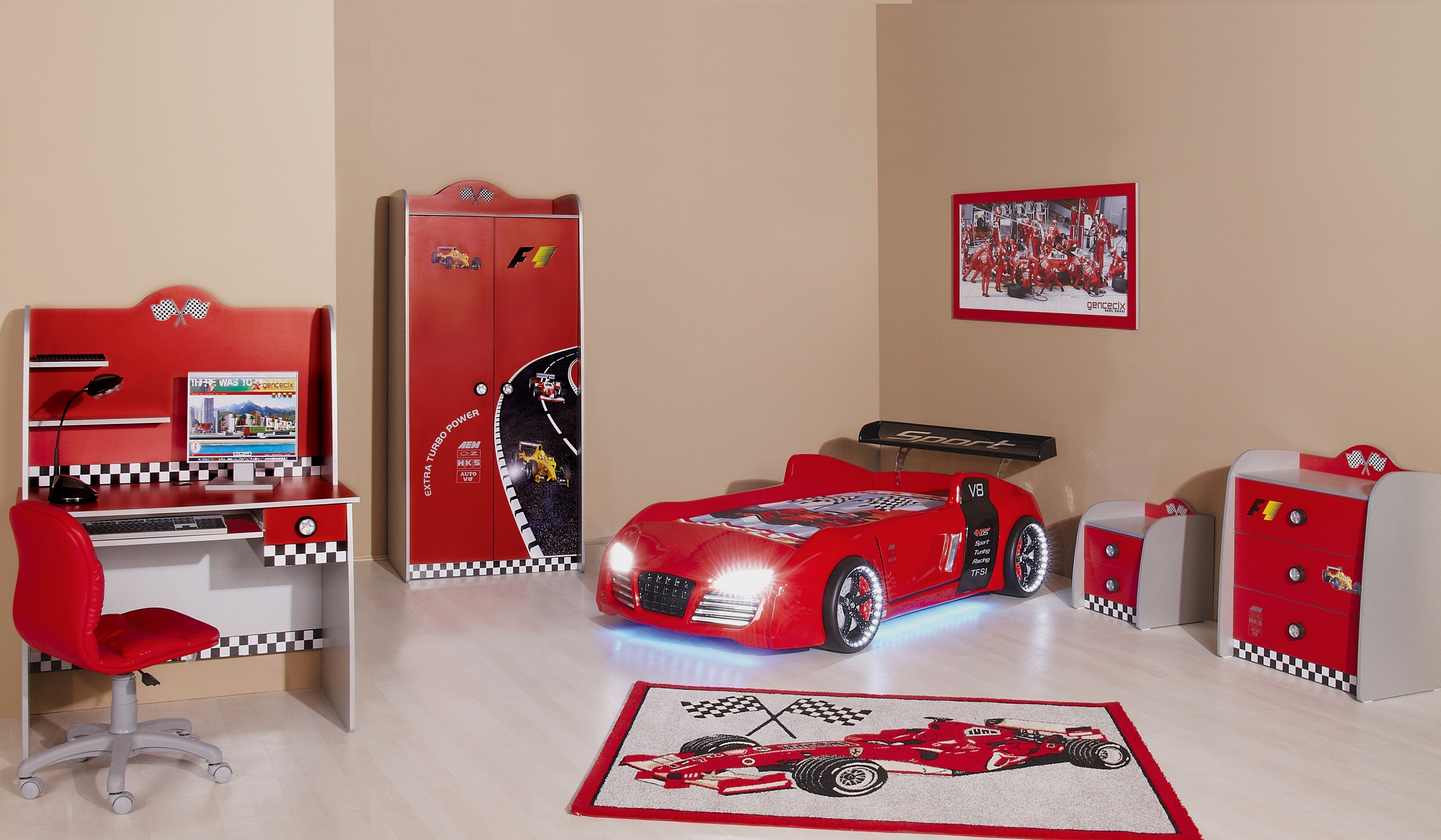 rennwagen kinderbett auto f r junge bub ebay. Black Bedroom Furniture Sets. Home Design Ideas