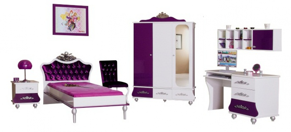 m dchenzimmer komplett brombeer oder rosa prinzessin sch ne m bel kinderbett ebay. Black Bedroom Furniture Sets. Home Design Ideas