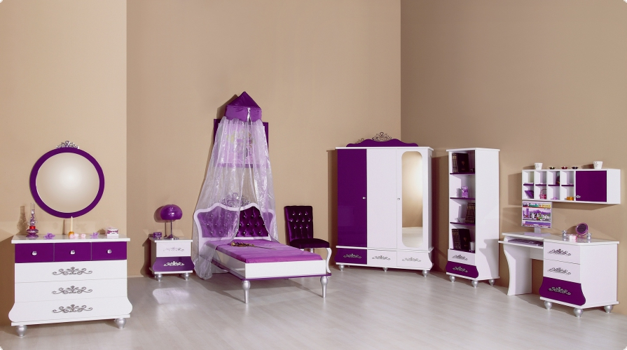 m bel m dchen kinderzimmer komplett rosa oder brombeer bett und schr nke ebay. Black Bedroom Furniture Sets. Home Design Ideas