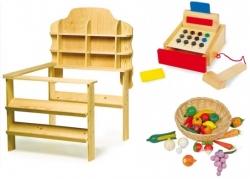 kaufmannsladen mit zubeh r und kaufladen aus holz f r kinder. Black Bedroom Furniture Sets. Home Design Ideas